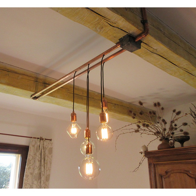 une suspension cuivree par alain falbala luminaires. Black Bedroom Furniture Sets. Home Design Ideas