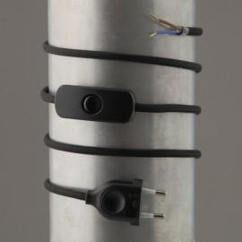 Cordon de lampe textile noir