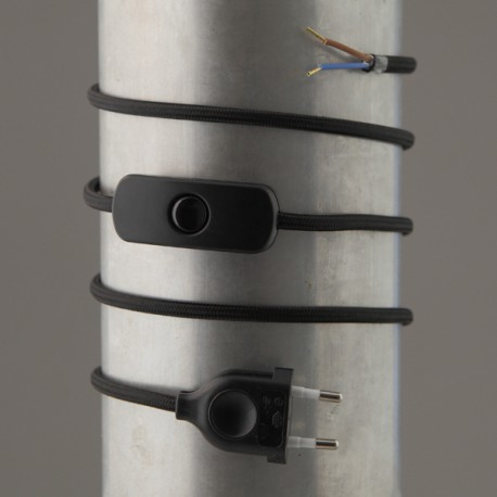 Cordon de lampe textile noir - Falbala-luminaires