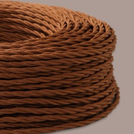 CABLE TEXTILE TORSADE 3X0.75mm² ROUILLE