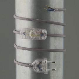 Cordon de lampe textile gris