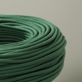 Câble textile coton vert bouteille