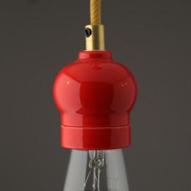 Douille E27 porcelaine indie rouge