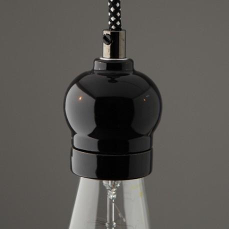Douille E27 porcelaine indie noire - Falbala luminaires