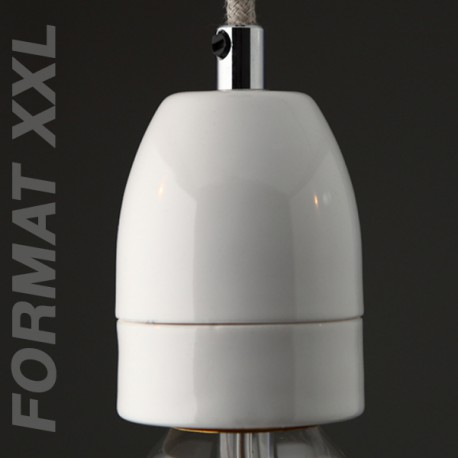 Douille E40 porcelaine lisse blanche - Falbala-luminaires
