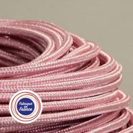 Câble textile paillettes rose