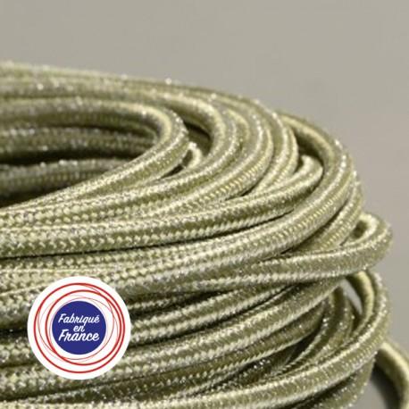 Câble textile paillettes vert