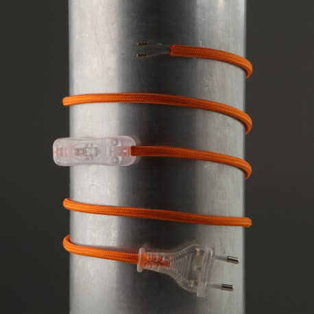Cordon de lampe textile orange - Falbala-luminaires