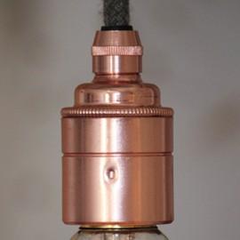 Douille E27 lisse cuivre avec serre câble