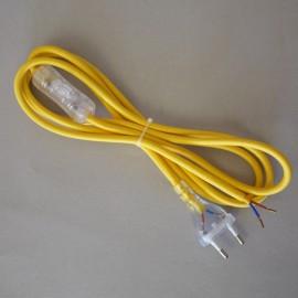 Cordon de lampe textile jaune rond