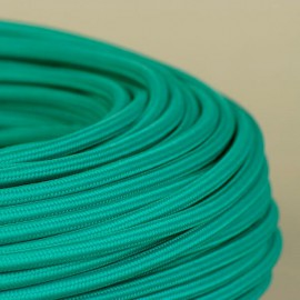 Câble textile vert emeraude