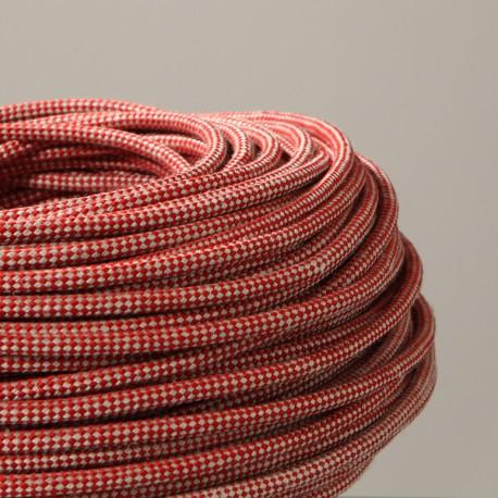 Câble textile arlequin lin et rouge - Falbala Luminaires