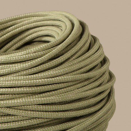 Câble textile arlequin Lin et vert - Falbala-luminaires