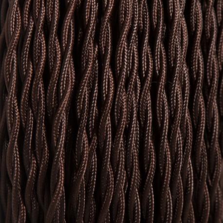 Câble textile torsadé 2x0.50mm² brun - Falbala-luminaires