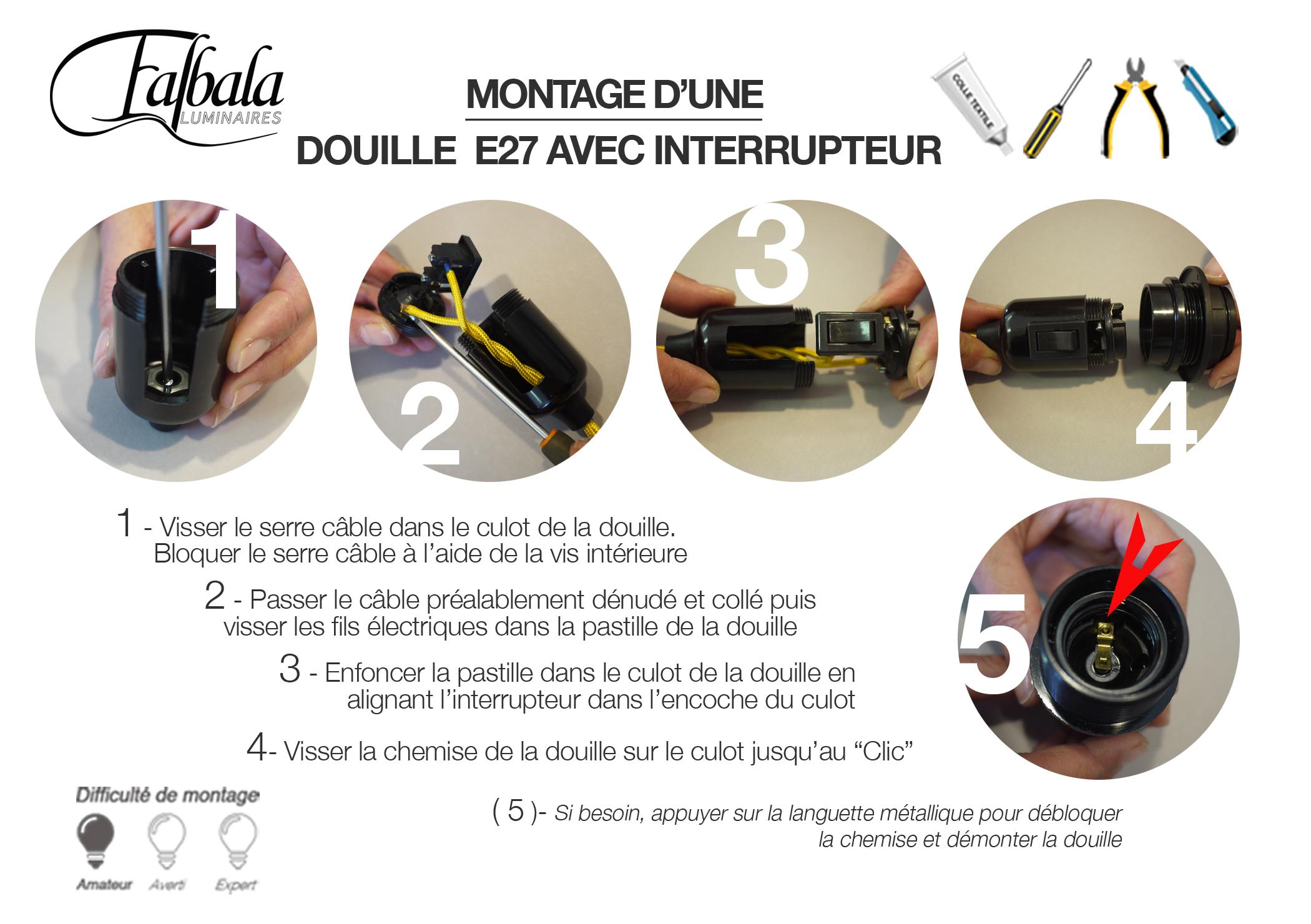 TUTO DOUILLE E27 INTERRUPTEUR-Falbala Luminaires