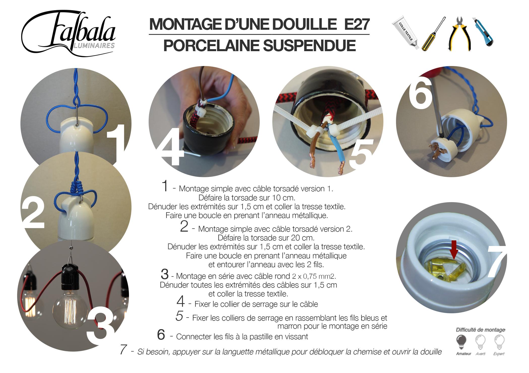 TUTO-DOUILLE E27 SUSPENDUE-Falbala Lumoinaires