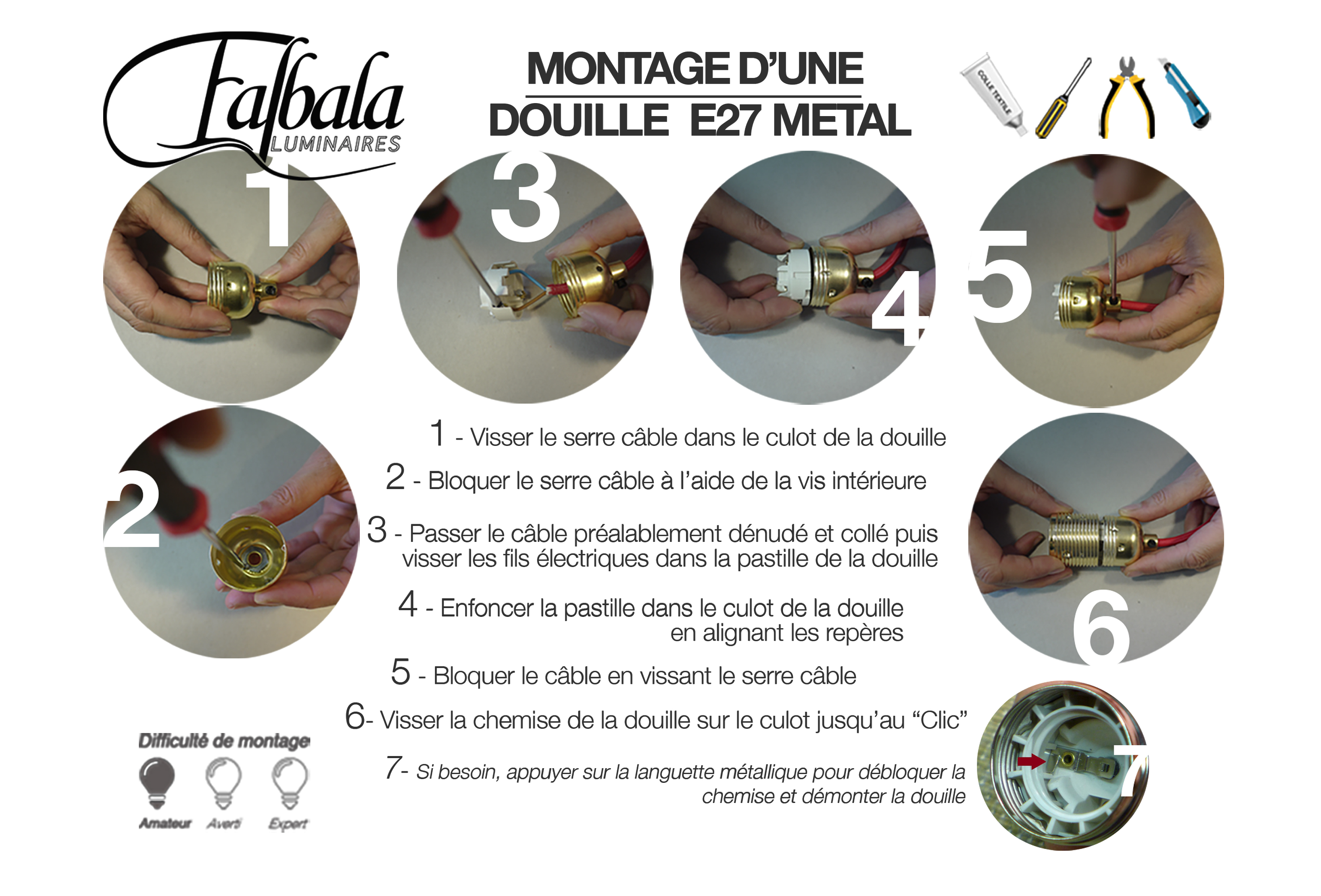 TUTO DOUILLE E27 METAL-Falbala Lumnaires