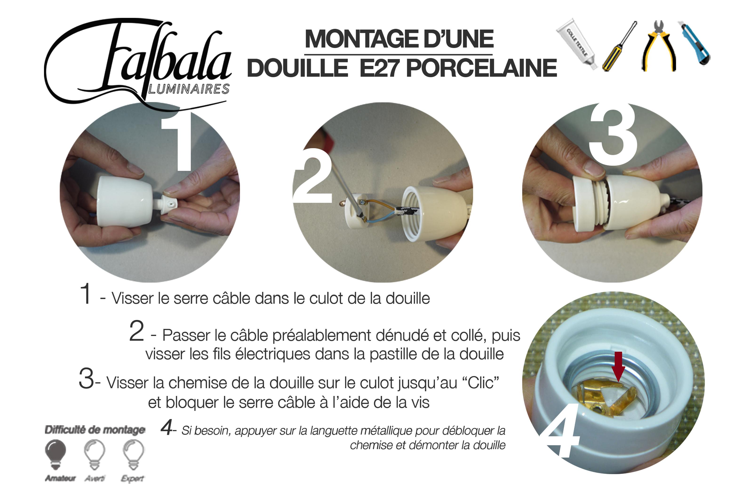 TUTO DOUILLE E27 PORCELAINE-Falbala Lumnaires