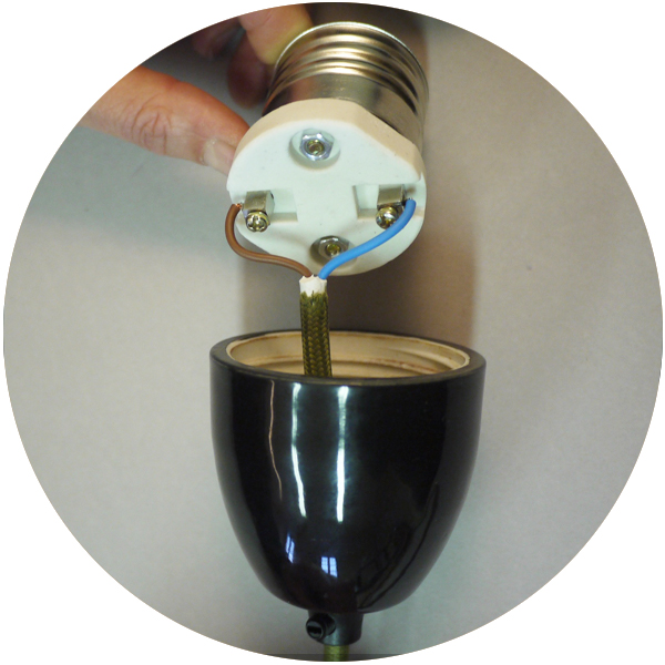Douille E40 porcelaine noire-falbala luminaires