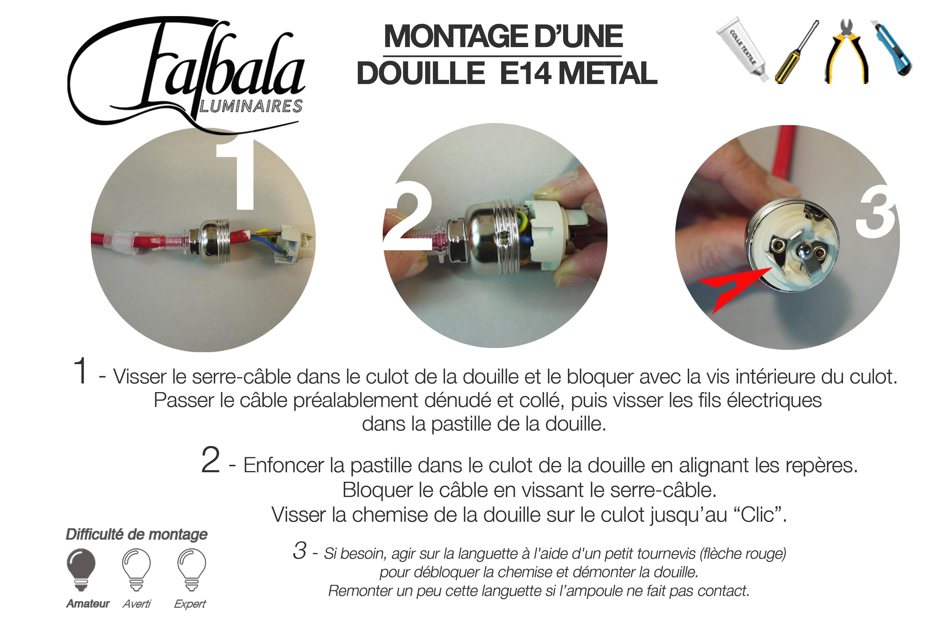 TUTO DOUILLE E14 METAL-Falbala Luminaires