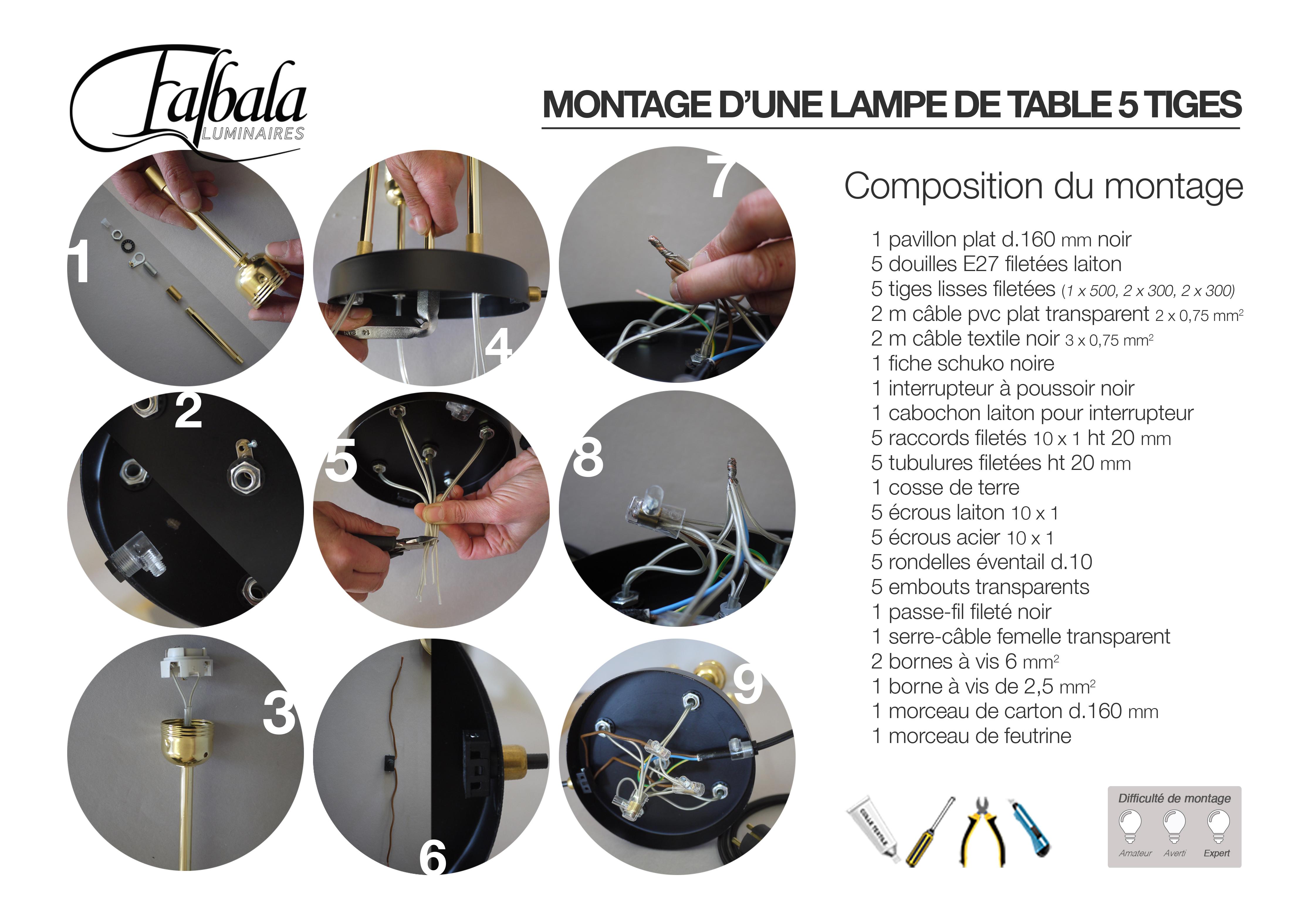 Lampe 5 tiges-TUTO-falbala luminaires