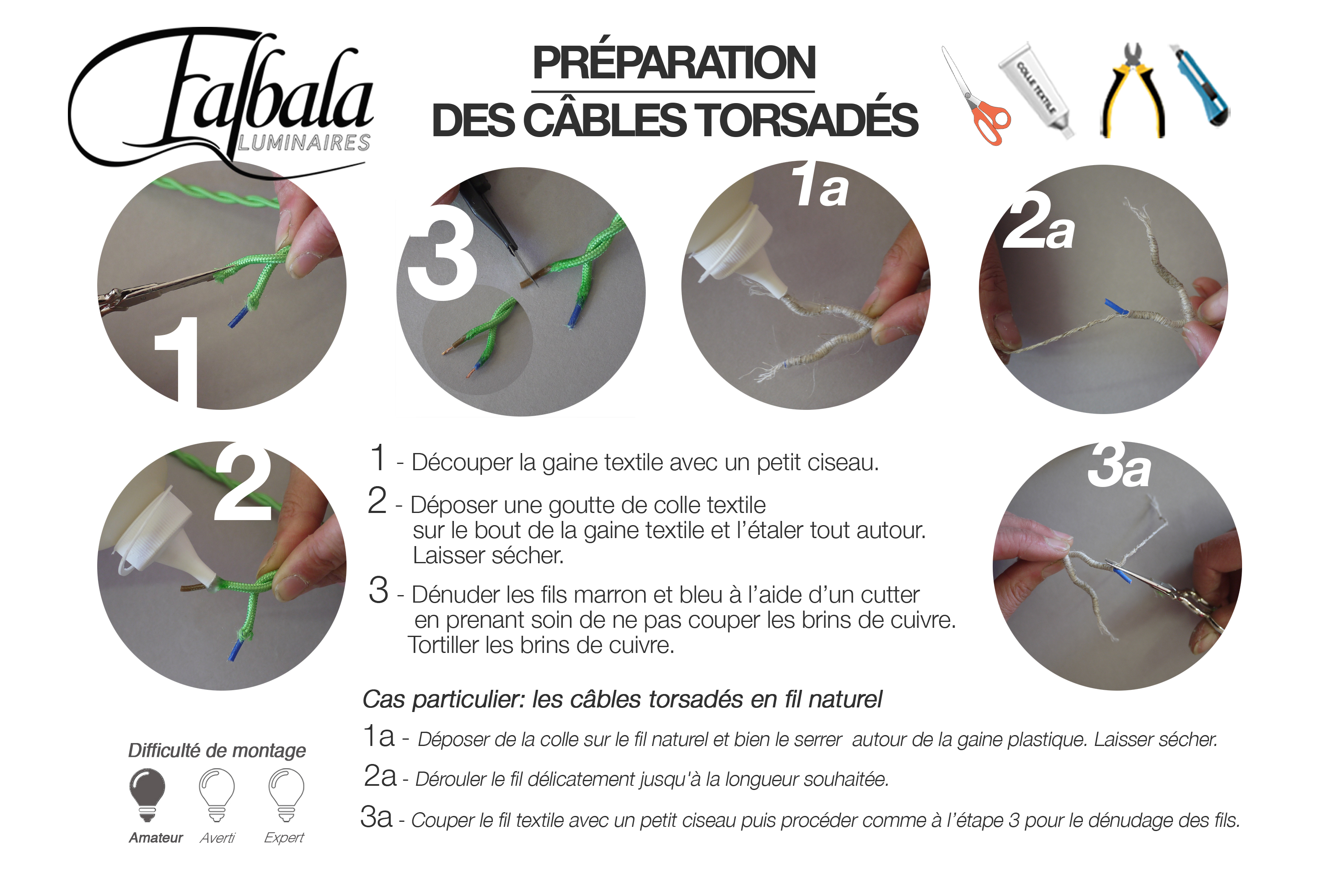 TUTO Préparation câbles torsadés -Falbala Luminaires